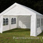 Partytent 4x4 meter voorkant schuin huren - Partytentverhuur Den Bosch