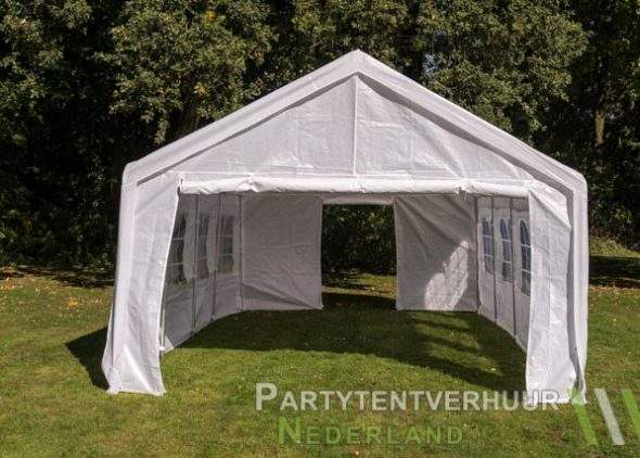Partytent 4x8 meter voorkant met deur huren - Partytentverhuur Den Bosch